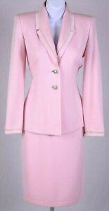 ST.JOHN Evening Womens Pink Gold Studs Trim Rhinestone Jacket & NWT Skirt Sz 4