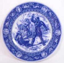 Wedgwood Ivanhoe Flow Blue Dinner Plate Black Knight Friar Tuck Antique