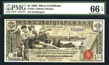 1896, $1 Fr 224 Large Size Silver - Pmg 66 Epq-Low Serial