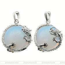 1X Opal Opalite Gemstone Bail Pendant Dragon Animal Round Bead Fit Necklace DIY