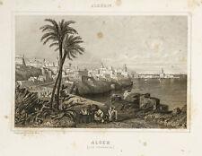 1844 - Gravure ancienne Algérie : Alger (Vue générale)