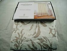 "THRESHOLD SHOWER CURTAIN FLORAL GRAY W FRINGE 72"" X 72""  100% COTTON OEKO TEX"