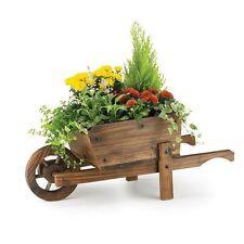 Wheel Barrow Garden Planter Burnt Wood Wooden Modern Stylish Flower Pot