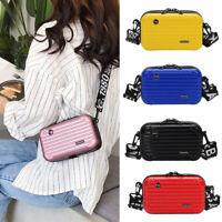 Women Mini Suitcase Shape Makeup Bag Shoulder Bag with Wide Letter Strap UC