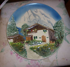 """West Germany Decorative 12"""" Wall Plate Mountain Chalet  Cabin Forest Scene"""