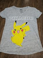 2432ea51f Juniors Womens/Teens Pokemon Pikachu All Over Print Heather Gray T ...