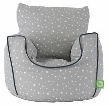 Cotton Grey Stars Bean Bag Arm Chair with Beans Child size From BeanLazy