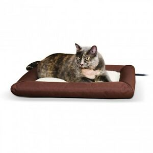 KH Mfg Outdoor Deluxe Lectro-Soft Heated Bolstered Cat Dog Pet Bed Pad Small