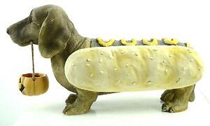 "Halloween Dachshund Weiner Hotdog Figure 12"" Statue Holding Jack O Lantern Resin"
