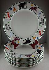 7 Pottery Barn Safari Dinner Plates - Green Bands, Animals, Multi-Color Symbols