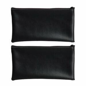 "PM Company Securit Bank Deposit/Utility Zipper Coin Bag 11X6"" Black (2 Pack)"