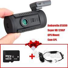 Mini0826 Ambarella A7 HD 1296P Car GPS Dash Video Camera DVR CPL+64GB+Hard F1