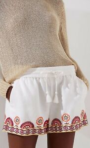 Ann Taylor LOFT Sunset Floral Drawstring Shorts Size Medium Whisper White Color