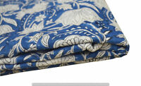 Indian 100% Cotton Voile Fabric blue Multi Sewing Hand Block Print Craft 5 yard