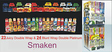 3 Boxen (75St DOUBLE) BLUNT WRAP PLATINUM / JUICY WRAP. 38 verschillende smaken!