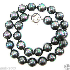 "New 10mm Rainbow Black Genuine South Sea Shell Pearl Beads Necklace 18"" AAA"