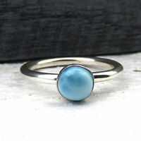 Natural Dominican Larimar Gemstone 925 Sterling Silver Birthstone Ring Size 7