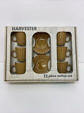 More details for retro vintage 1970s tams harvester 12 piece coffee set boxed brown s3