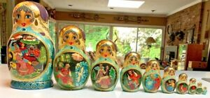 Vintage~Signed~Russian Hand paint 10 Nesting Dolls~Genuine Gold Leaf~Fairy Tales