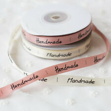 Handmade Print Satin Ribbon Baking Gift Packing DIY Sewing Labels 1cm*22m Roll