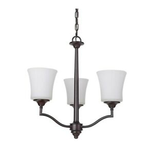 Craftmade Helena 3 Light Chandelier, Oiled Bronze w/White Frosted - 41723-OB