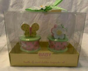 Baby Essentials Tooth & Curl Holder Keepsake Set Flower & Butterfly