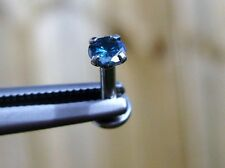.25ct 3.8-4mm REAL BLUE DIAMOND LABRET,MONROE,TRAGUS,EAR,LIP RING,HELIX,PIERCING