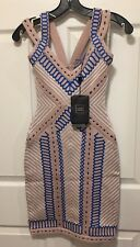 "NEW Herve Leger ""Sienna"" Geometric Raised Jacquard Dress NUDE BLUE $1656 SMALL"