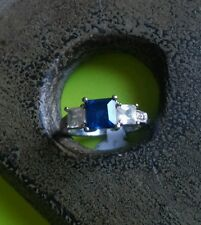 Sterling Silver 925 Ring with Square Blue Stone w/ clear crystal Accents Sz. 6.5