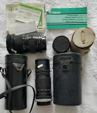 Lot objectif canon zoom lens vintage Fd 35-105mm + komura + Fl 200mm 1:4,5