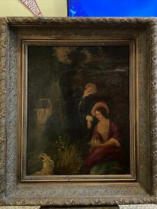 Antique Old  Portrait Oil Painting, Young Boy/Girl W/ Goat&Chicks