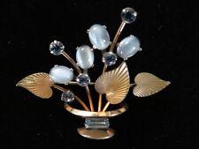 VINTAGE KREMENTZ BROOCH LEAF DESIGN BLUE OPAL GLASS BLUE CRYSTAL GOLD PLATED PIN