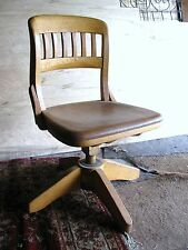 Swivel Chair Solid Oak Wood Railroad/Banker/Courtroom Adjustable PICK UP ONLY