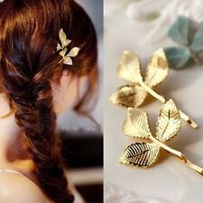 Gold Leaf Hair Pin Vintage Hair Clip Barrette Pins Grips Wedding Bridal Jewelry