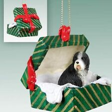 Bearded Collie Dog Green Gift Box Holiday Christmas Ornament