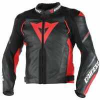 DAINESE SUPER SPEED-3 LEATHER JACKET MOTORBIKE / MOTORCYCLE BLACK/RED