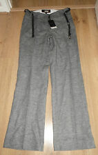 BNWT NEXT Size 8 Ladies Grey Cotton/Linen Tailored Trousers  **NEW - £38**
