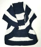 CAbi Navy Blue & White Striped Sleeveless Open Front Cardigan Sweater Size M