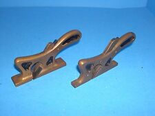 matched pair solid brass coachmaker style squirrel tail wood rabbet planes