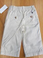 Ralph LAUREN Bebé Niño logotipo clásico de Arena Algodón Pantalones Pantalón Chino Nuevo con etiquetas 9 meses