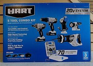 Hart HPCK502BPTA 5-Tool 20V Combo Tool Kit w/70-Piece Accessory Kit - NEW