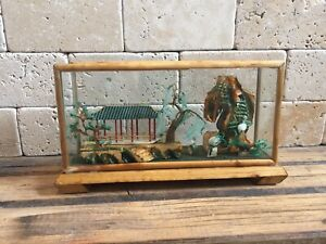 Chinese Carved Cork Colour Art Pagoda & Stork Scene In Bamboo And Glass Case