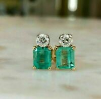 3.50Ct Emerald Cut Green Emerald Diamond Stud Earrings 14K Yellow Gold Over