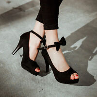 Bow Knot Womens High Heels Ankle Strap Open Toe Strappy Stilettos Sandals Shoes