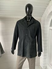 Men's Seraphin Navy Blue Leather Suede Coat Jacket Size - 56