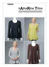 V8691 Sewing Pattern Designer Katherine Tilton Semi-Fitted Tops Size 16-22 EASY
