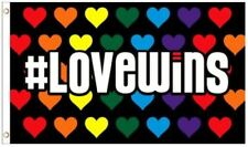 Love Wins Rainbow Hearts LGBT Gay Lesbian Pride Polyester 3x5 Foot Flag Banner