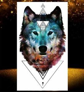 Temporäres Tattoo Wolf Muster Wald Forest Wasserfest Einmal Tier Tiere Farbig