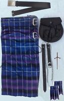 "MENS HONOUR OF SCOTLAND TARTAN KILT OUTFIT PACKAGE 7 PIECES,SIZES 28"" to 46"""