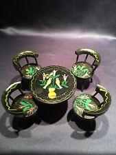 Vintage Dollhouse Miniature Wood Table 4 Captains Chairs Handpainted Birds Japan